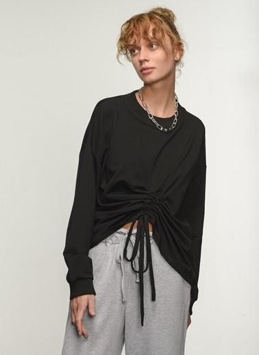 People By Fabrika People By Fabrika Belden Büzgü Detaylı Kadın Sweatshirt Siyah